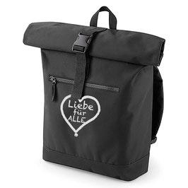 Rucksack «Liebe für Alle» schwarz mit weißem Aufdruck