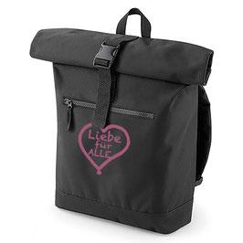 Rucksack «Liebe für Alle» schwarz mit pinkem Aufdruck