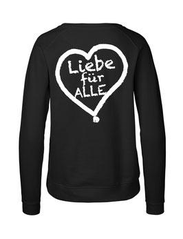 """Taillierter «Liebe für Alle» Sweater weiß - """"Doppelt Beherzt"""""""