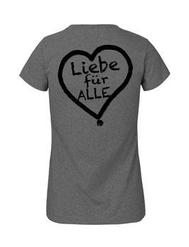 """Tailliertes «Liebe für Alle» Shirt schwarz - """"Doppelt Beherzt"""""""
