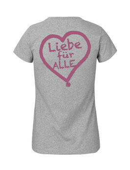 """Tailliertes «Liebe für Alle» Shirt pink - """"Doppelt Beherzt"""""""