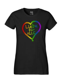 """Tailliertes «Liebe für Alle» Shirt Regenbogen - """"Vorne Druff"""""""