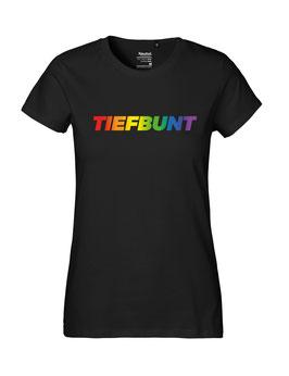 """Tailliertes «Tiefbunt» Shirt Regenbogen - """"Vorne Druff"""""""