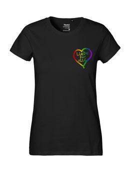 """Tailliertes «Liebe für Alle» Shirt Regenbogen - """"Direkt auf´s Herz"""""""