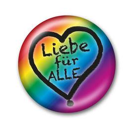 Liebe für Alle Button Regenbogen/Schwarz