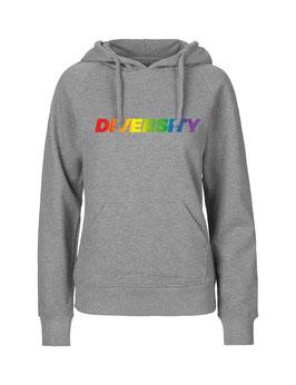 """Taillierter «Diversity» Hoodie Regenbogen - """"Vorne Druff"""""""