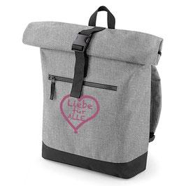 Rucksack «Liebe für Alle» grau mit pinkem Aufdruck