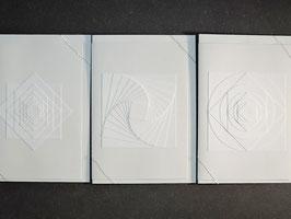 """Weiße Kunstkarten """"Geometrie"""""""