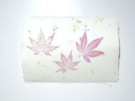A5, Büttenpapier, japanischer Ahorn/Sommerblüten, doppelt geschöpft, Einzelblatt