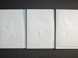 """Weiße Kunstkarten """"Blätter"""""""