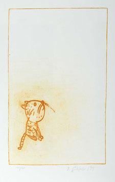"""Farblithografie """" Katze XI """" von Dieter Gilfert, 1999"""