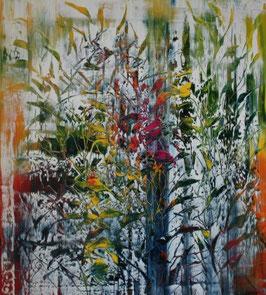 Abstrakt Flowers- 80x90 cm - Öl auf Leinwand ungerahmt