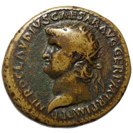 NERO (54-68) AE Dupondius, Rom, Roma auf Waffenhaufen - Selten!!