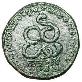 Elagabalus (218-222 n.u.Z.) Nikopolis, snake