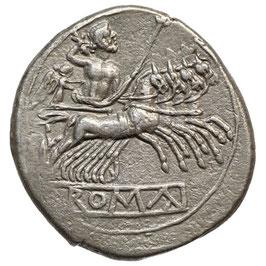 Anonyme Prägung (225-212 BCE) AR DIDRACHME/Quadrigatus