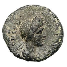 Domitia (79-96) AE, Apollonis, Dreifuß