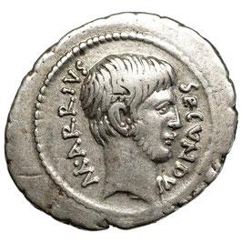 M. Arrius Secundus (41 BCE) Sehr Selten! AR Denar