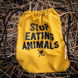 Recycled Gymsac - mustard, mit eingenähter Seitentasche