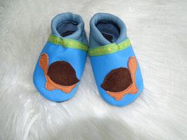 Lederpuschen Schildkröte blau/himmelblau Größe 18/19 Einzelstück