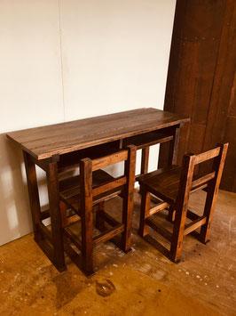 木製の学校の机とイス(2人用・3点セット)A