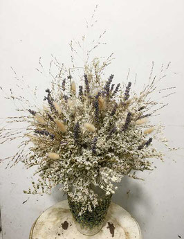 #25 Trockenblumenstrauß natur - blau