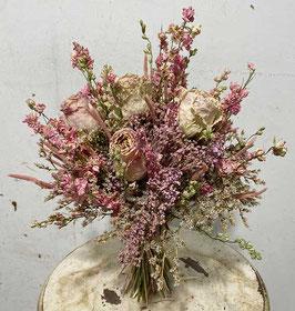 #27 Trockenblumenstrauß rosa - creme