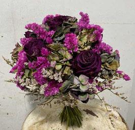#28 Trockenblumenstrauß grün - weinrot - pink