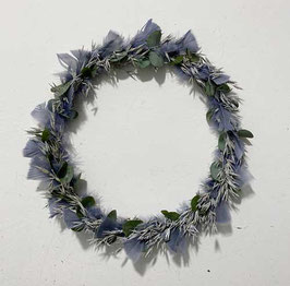 #33 Trockenblumenkranz grau - blau