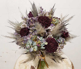 #4 Trockenblumenstrauß grau-grün, purpur