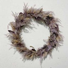 #37 Trockenblumenkranz natur - lila