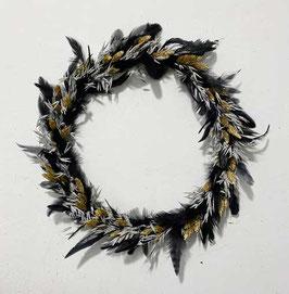 #34 Trockenblumenkranz grau - schwarz - gold