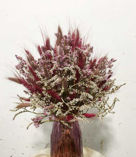 #15 Trockenblumenstrauß weinrot - lila - rosa - natur