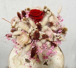 #20 Trockenblumenstrauß natur - rot - rosa