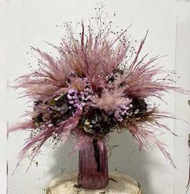 #10 Trockenblumenstrauß rosa - aubergine