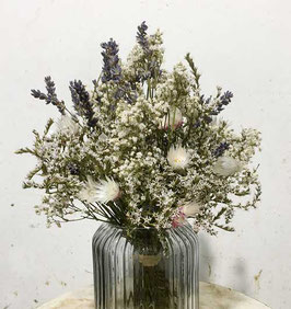 #22 Trockenblumenstrauß blau - weiß