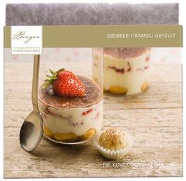 Erdbeer-Tiramisu gefüllt 100 G - Fruchtige Erdbeeren und cremiges Tiramisu vereinen sich mit feinster Vollmichschockolade mit 35% kakaoanteil zu eine perfekten Komposition
