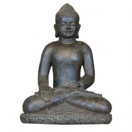 Buddha sitzend, 46cm braun Steinguss