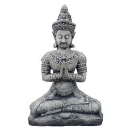 Stein Deko Buddha sitzend 75cm Formbeton bearbeitet - winterfest