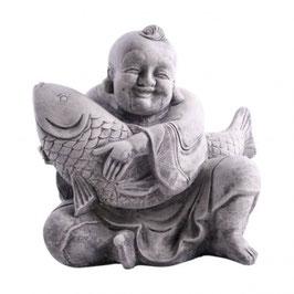 Stein Deko Buddha sitzend mit Koi 35cm Formbeton bearbeitet - winterfest