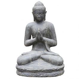 Buddha sitzend, 60cm braun Steinguss