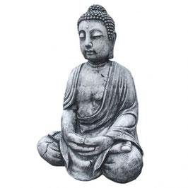 Stein Deko Buddha sitzend 70cm Formbeton bearbeitet - winterfest