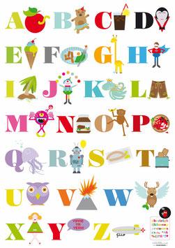 ABC-Poster mit frechem Fehlerteufel • Poster A1 mit Eichenposterleiste