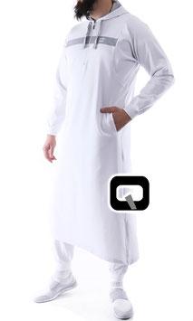Qamis Oberteil - Gewand Long capuche Vortex Farbe Weiß - Grau