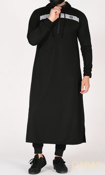 Qamis Oberteil - Gewand Long capuche Vortex Farbe Schwarz Grau