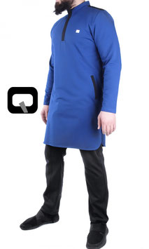 Qamis Court Boss Farbe Indigo Blau und Schwarz Oberteil Langarm