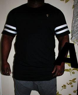 Metal Jersey T-Shirt mit weißen Streifen long Farbe Schwarz