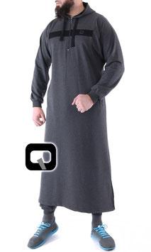 Qamis Oberteil - Gewand Long capuche Vortex Farbe Grau Schwarz