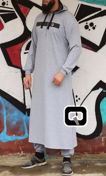 Qamis Oberteil - Gewand Long capuche Vortex Farbe Hell Grau