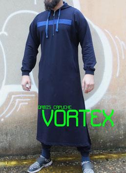 Qamis Oberteil - Gewand Long capuche Vortex Farbe Nachtblau