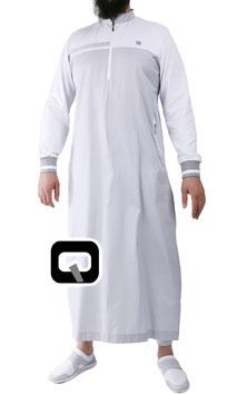 Qabail Oberteil long classique Qamis Farbe Weiß-Grau